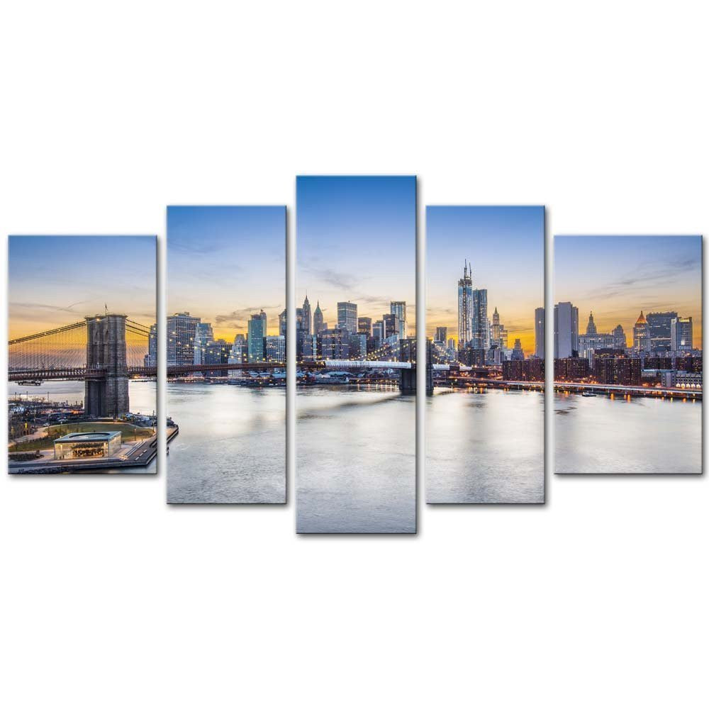 5 Pieces Modern Canvas Painting Wall Art The Picture New York City Over East River Brooklyn Bridge Manhattan Buildings Cityscape
