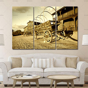Canvas painting the Picture For Home Modern Decoration3 Panel Wall Art Wild West Cowboy Town With Wagon Painting Pictures
