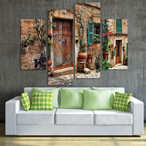 Canvas Painting  Architecture Pictures For Home Decor 4 Panel Wall Art Streets Of Old Mediterranean Towns Flower Door Windows