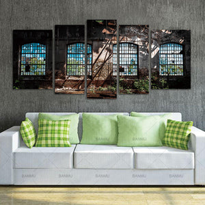 Wall Art Canvas Paintings Wall  Home Decor Abandoned Industrial Interior with Bright Light Ruin Window Plant Painting 5 Panels