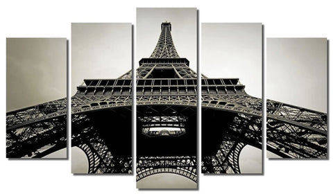 5 Panel Wall Paintings Modern Printed Paris Eiffel Tower Landscape Oil Painting Wall Art Picture For Living Rom No Frame