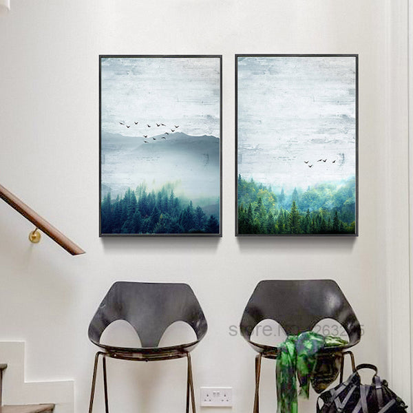 Landscape Painting Forest Life Bird Posters And Prints Picture Nordic Poster Canvas Pictures For Living Room Wall Art Unframed