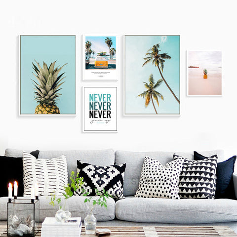 Pineapple Cactus Coconut Tree Posters And Prints Nordic Poster Wall Picture Canvas Art Canvas Pictures For Living Room Unframed