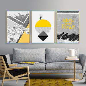Golden Deer Posters And Prints Wall Pictures For Living Room Wall Art Yellow And Gray Geometric Picture Nordic Poster Unframed