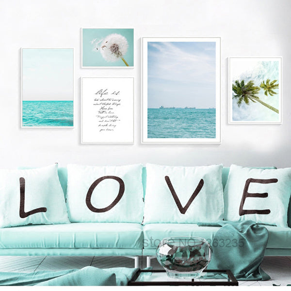 Blue Seawater Posters And Prints Dandelion Coconut Nordic Poster Wall Picture Canvas Art Wall Pictures For Living Room Unframed