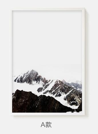 Nordic Poster Snow Mountain Posters And Prints Letter Wall Pictures For Living Room Landscape Art Print Canvas Painting Unframed