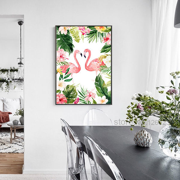 Flamingo Posters And Prints Turtle Leaf Nordic Poster Flower Cuadros Art Print Canvas Art Wall Pictures For Living Room Unframed