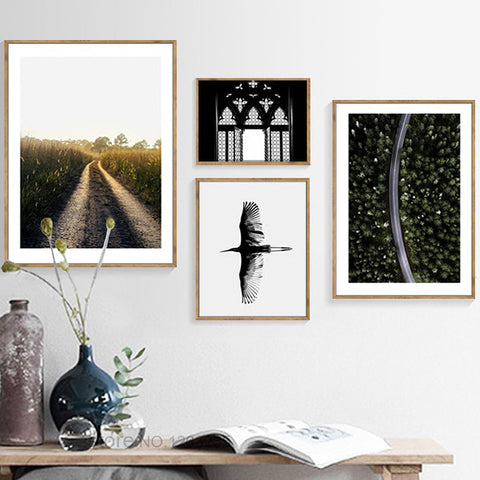 Landscape Painting Forest Wing Road Posters And Prints Nordic Poster Picture Canvas Art Wall Pictures For Living Room Unframed
