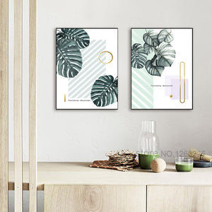 Green Plants Turtle leaf Posters And Prints Nordic Poster Wall Art Canvas Painting Wall Pictures For Living Room Unframed