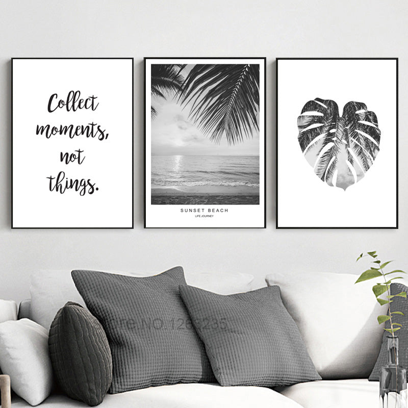 Sun beach leaf landscape word art print posters and prints canvas pictures for living room wall