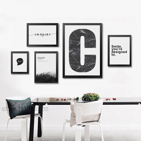 Gray Landscape Word Hi 5 Piece Canvas Art Posters And Prints Nordic Poster Canvas Pictures For Living Room Art Print Unframed