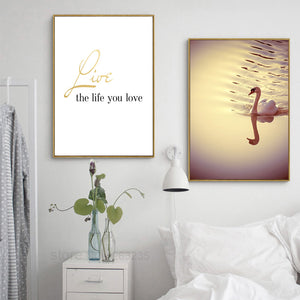 Posters And Prints Nordic Poster Love Canvas Art Wall Pictures For Living Room Swan Poster Wall Art Canvas Painting Unframed