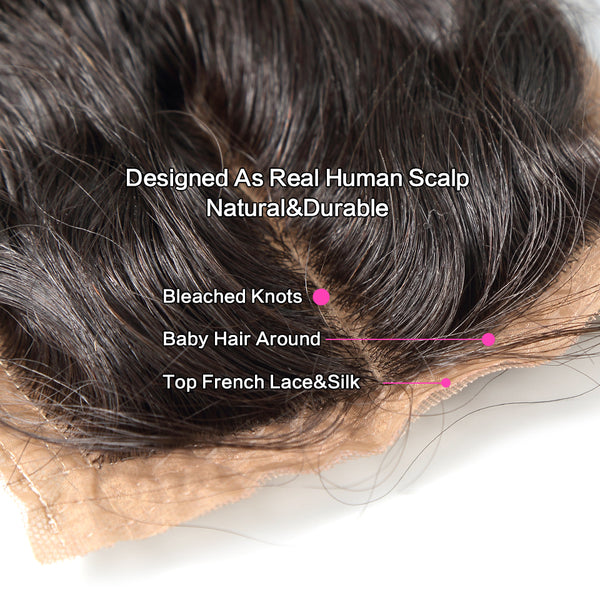 Luvin Brazilian Hair Silk Base Closure Loose Wave 100% Remy Human Hair Middle Part Bleached Knot With Baby Hair Shipping Free