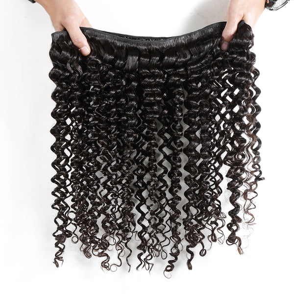 Luvin Malaysian Curly Virgin Hair Extension 100% Human Hair Weave Bundles Unprocessed Hair Weft  Natural Color Deep Wave