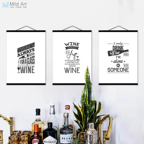 Wine Beer Bottle Typography Hippie Quotes Wooden Framed Poster Nordic Kitchen Wall Art Pictures Bar Decor Canvas Painting Scroll