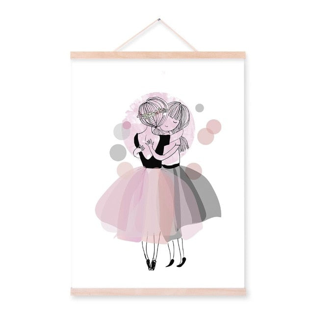 Romantic Pink Diamond Ballet Dance Girl Wooden Framed Posters Nordic Bedroom Wall Art Picture Home Decor Canvas Paintings Scroll