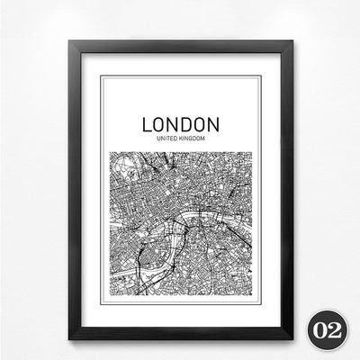 Black White Art Map World City Canvas Art Painting Poster, New York City Wall Picture for Home Decoration YT0026