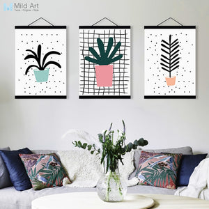 Modern Cute Green Plant Cactus Leaf A4 Wooden Framed Poster Nordic Wall Art Living Room Picture Home Deco Canvas Painting Scroll