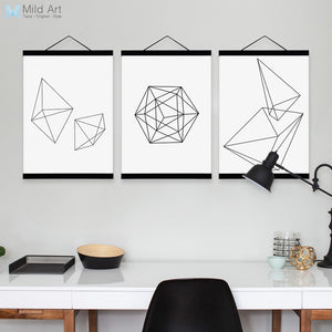 Minimalist Black White Geometric Shape Wooden Framed Canvas Paintin Modern Nordic Home Deco Wall Art Print Picture Poster Scroll