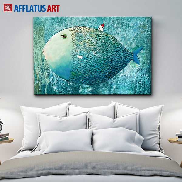 AFFLATUS Fish Nordic Poster Canvas Painting Watercolor Wall Art Posters And Prints