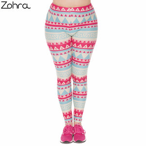 Large Size Women Leggings Aztec Green Printing Stretch High Waist Plus Size Trousers Pants