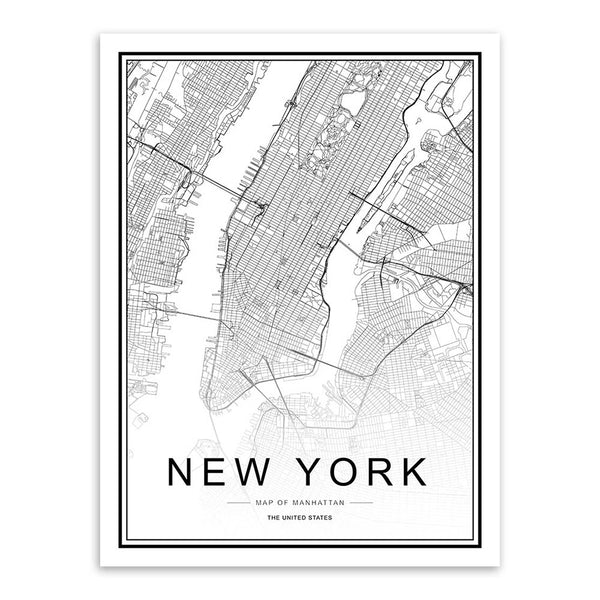 Black and White World City Map Paris London New York Poster Nordic Style Living Room Wall Art Picture Home Decor Canvas Painting