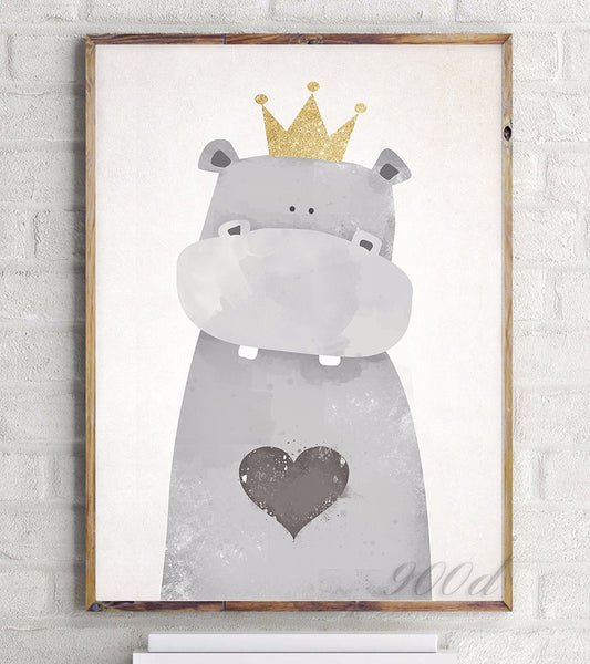 Cartoon Cute Hippo Canvas Art Print Painting Poster,  Wall Picture for Home Decoration, Wall Art Decor FA400-1