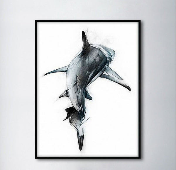 Nordic Minimalist Shark Backs Decorative Paintings Modular Picture Wall Art Canvas Painting