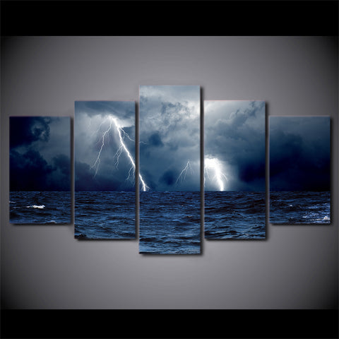 HD Printed 5 Piece Canvas Art Lightning Sea ocean storm painting Wall Pictures for Living Room Modern Free Shipping NY-7384C