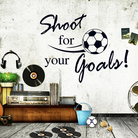 Shoot for your goals PVC Kids Room Sports Wall Decals Football English Letters Wall Stickers Removable Sticker Decor