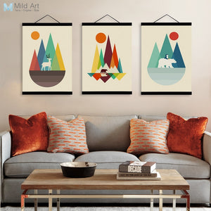 Colorful Geometric Abstract Mountain Forest Animal Wooden Framed Nordic Wall Art Picture Poster Home Deco Canvas Painting Scroll