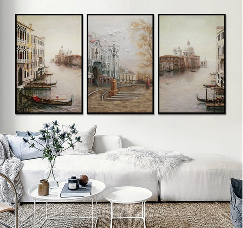 3 Pieces Water City Landscape Canvas Paintings Modular Pictures Wall Art Canvas