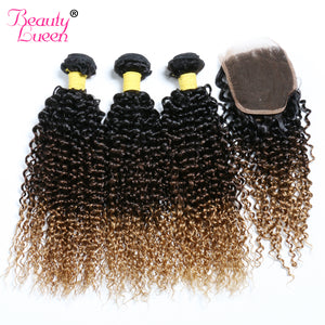 Ombre Brazilian Kinky Curly Weave 3 Bundles With Closure Human Hair Bundles With Lace Closure Free Part T1B/4/27 Non Remy Hair