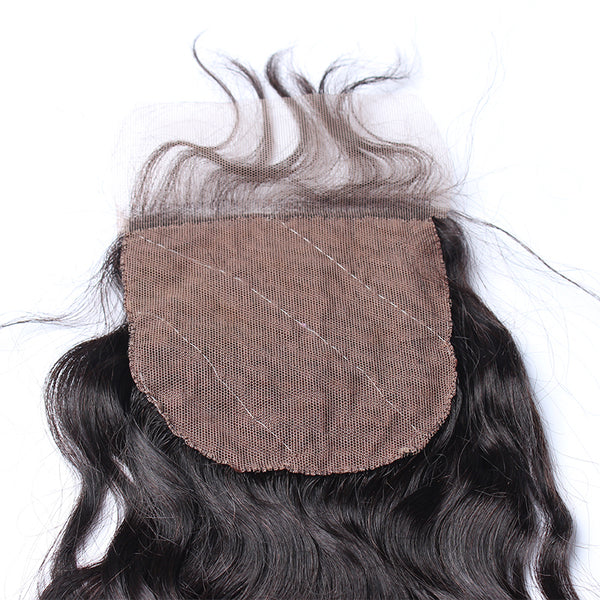 Brazilian Virgin Hair With Silk Base Closure Water Wave Bundles With Closure 4Pcs Bleached Knots Prosa Products