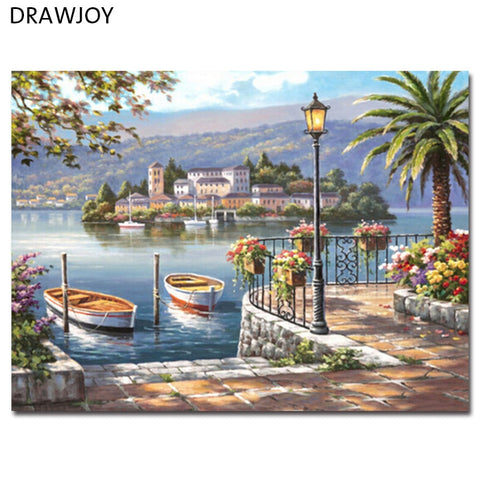 Seascape Frameless Pictures DIY Painting By Numbers Home Decor For Living Room Canvas Acrylic Painting GX9075 40*50cm