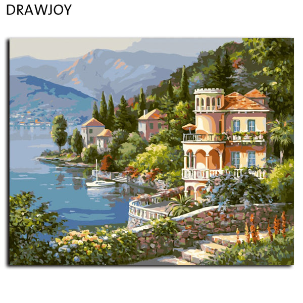 Seascape Frameless Wall Art Pictures Painting By Numbers DIY Canvas Oil Painting Europe Home Decoration G347 40*50cm