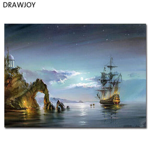 Frameless Home Decor Picture Painting By Numbers Seascape DIY Canvas Oil Painting Wall Art For Living Room Picture 40*50cm