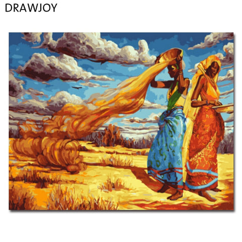 DRAWJOY Framed Picture Painting By Numbers Painting & Calligraphy Coloring By Numbers For Living Room Home Decor GX5750