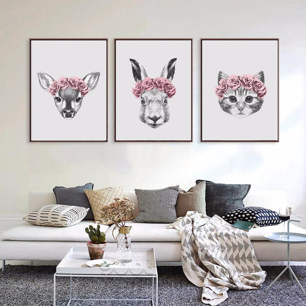 Hand Draw Animals Art Print Painting Poster, Rabbit and Deer and Cat Wall Pictures for Home Decoration Wall Decor FA403
