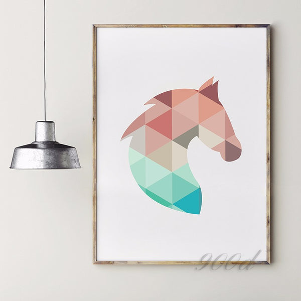 Geometric Horse Head Canvas Art Print Painting Poster,  Wall Pictures for Home Decoration, Home Decor 237-29