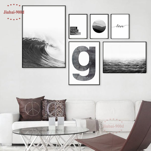 900D Nordic Poster Scenery Seascape Decoration Pictures Canvas Painting Wall Pictures For Living Room Wall Art Decoration NOR060