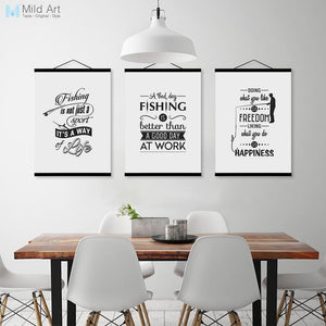 Vintage Fishing Typography Motivational Quote Wooden Framed Poster Nordic Living Room Wall Art Home Decor Canvas Painting Scroll
