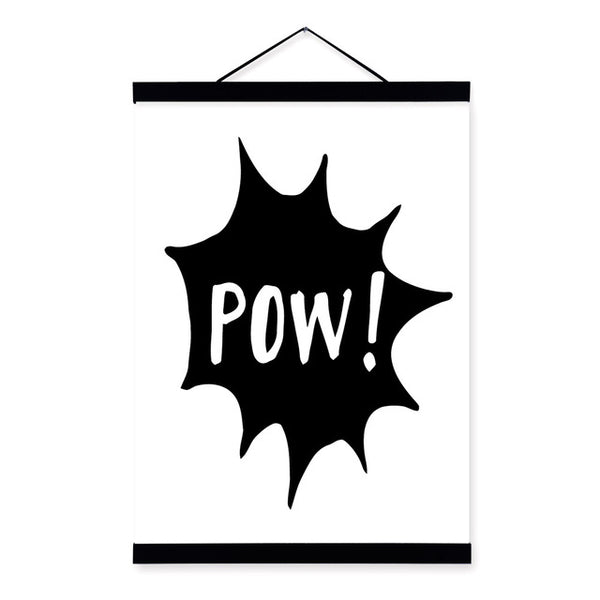 Kawaii Black and White Batman Posters Nordic Style Kids Room Decor Quotes Scroll Wall Art Pictures Wooden Framed Canvas Painting