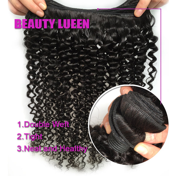 Afro Kinky Curly Weave Human Hair 3 Bundles With Closure Brazilian Hair Weave Bundles With Closure Nonremy Free Shipping