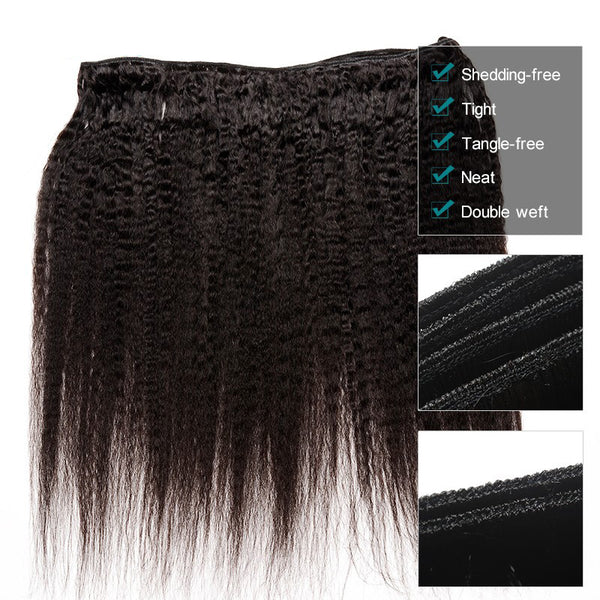 Kinky Straight Hair 3 Bundle Deals Brazilian Hair Weave Bundles Coarse Yaki Human Remy Hair Extension Hair Products Prosa