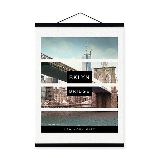 Famous New York City Landmark Statue of Liberty Wooden Framed Posters Nordic Wall Art Pictures Home Decor Canvas Painting Scroll