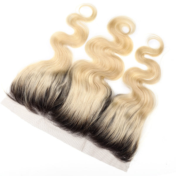 Luvin Ombre BlondeT#1B/#613 Body Wave Brazilian Human Hair Bundles With Closure 3 Bundles Remy Hair and 1PC Lace Frontal Closure