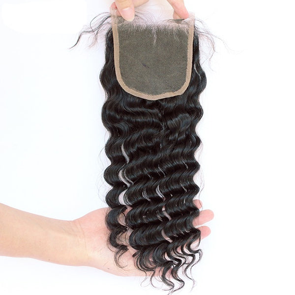 3 Deep Wave Bundles With Closure 4X4 Brazilian Hair Weave Bundles Deal Remy Nature Color Prosa Hair Products 4 pcs