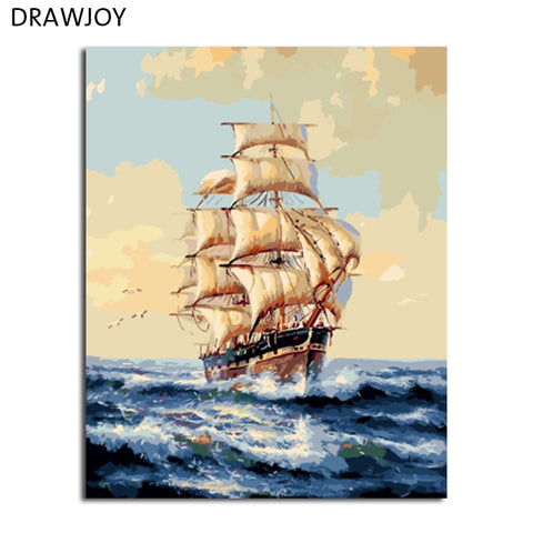 DRAWJOY Landscape Framed Painting By Numbers Wall Art DIY Canvas Oil Painting Home Decor For Living Room 40*50cm