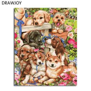 DRAWJOY Framed Pictures Painting & Calligraphy DIY Painting By Numbers Of Dogs Oil Painting Home Decor Wall Art